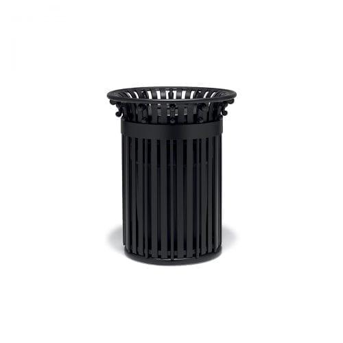 round, slat pattern trash can