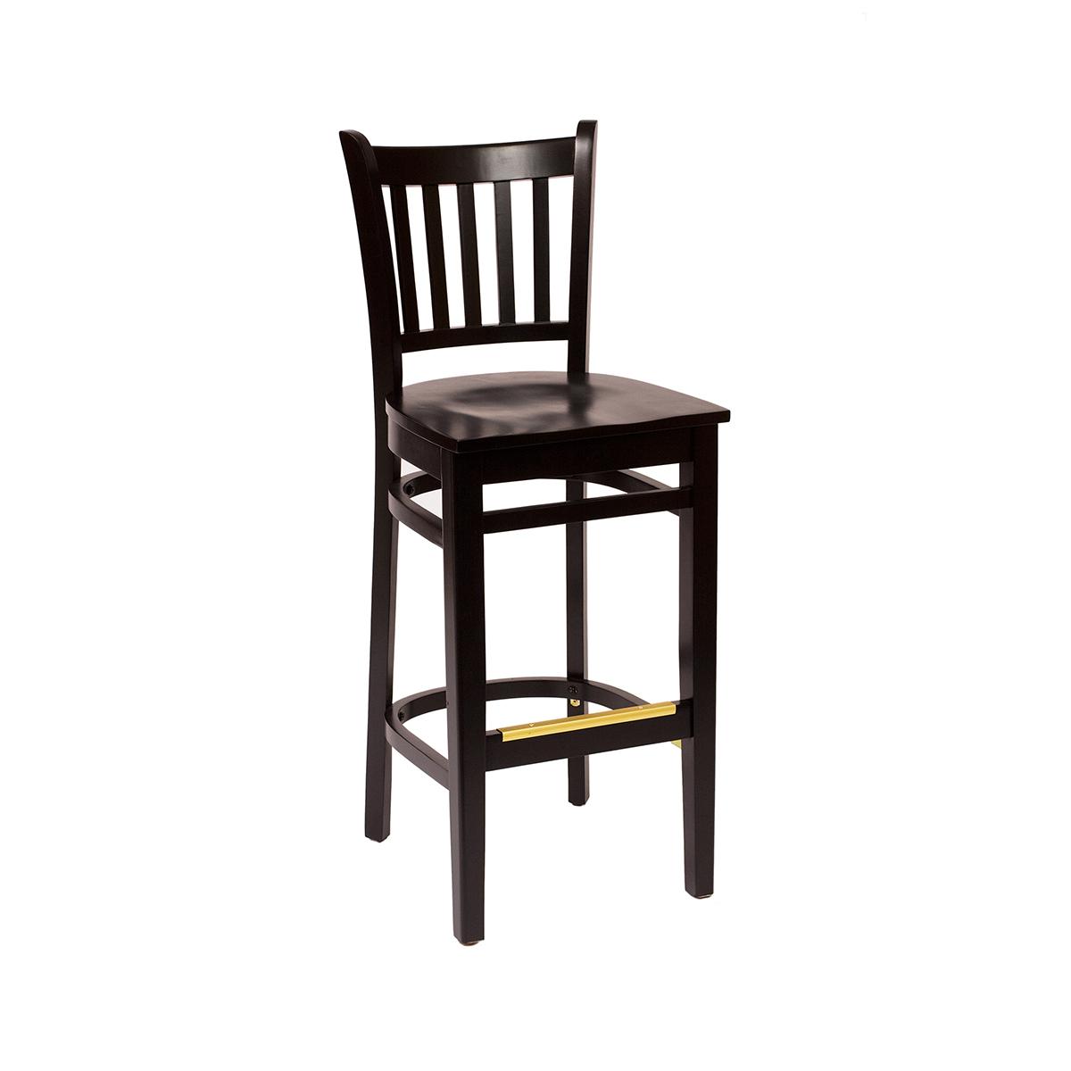 black wood slat back barstool with wood seat