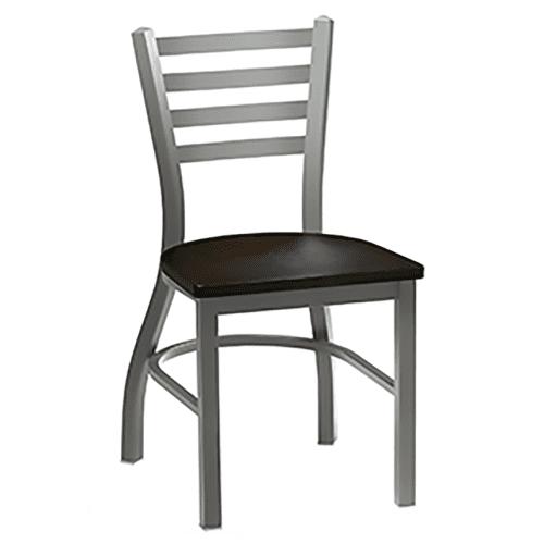 metal chair with wood seat and horiztonal back bars