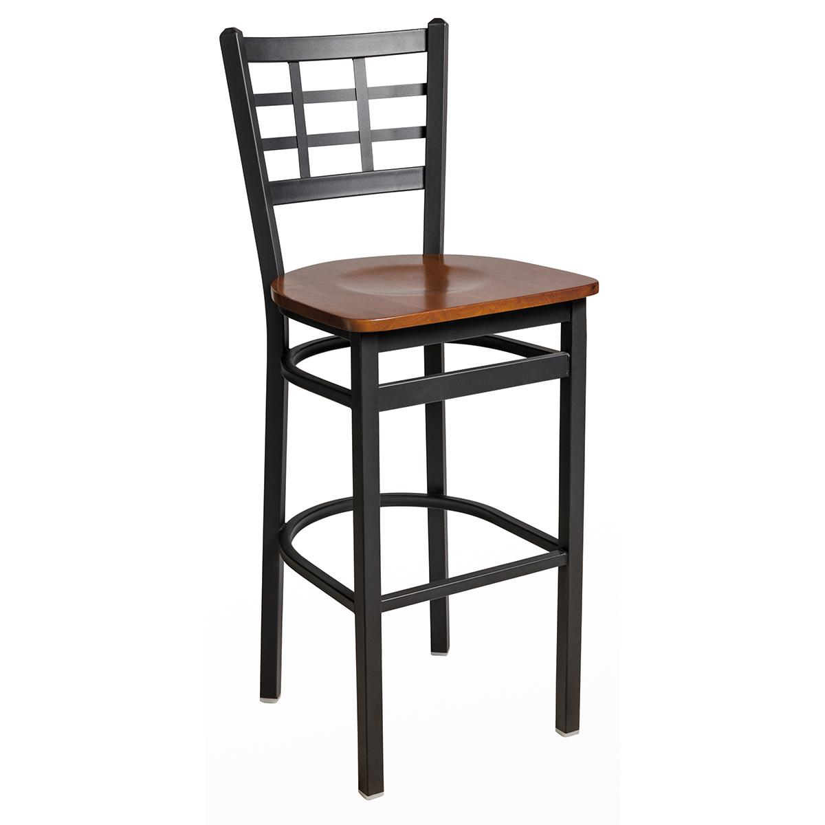 black steel barstool with window pane back and wood seat