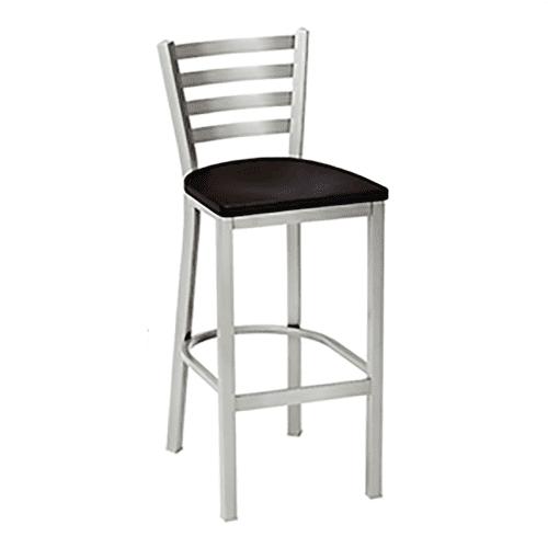 metal barstool with horizontal back bars and wood seat