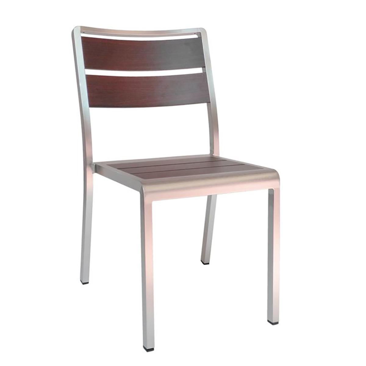 wood look aluminum side chair in wenge