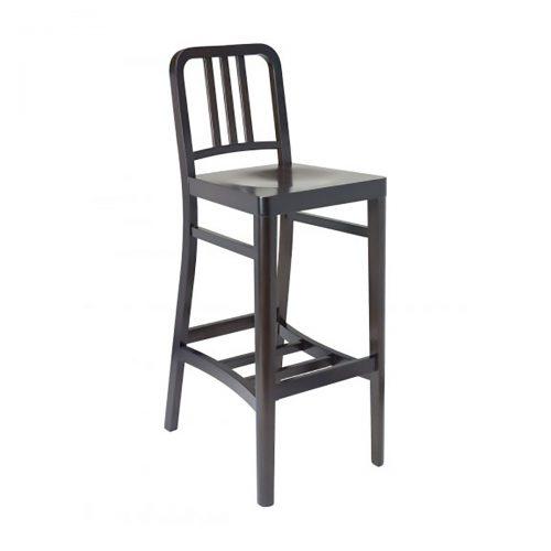 Dark wood barstool with saddle seat and wood bars on back