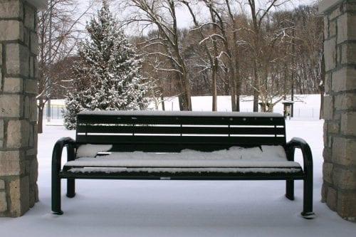 outdoor bench in slat