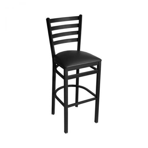 black ladder back barstool with upholstery